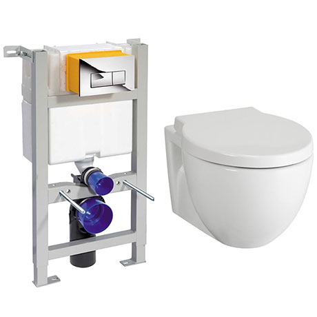 Compact Dual Flush Concealed WC Cistern with Wall Hung Frame + Holstein Toilet