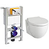 Compact Dual Flush Concealed WC Cistern with Wall Hung Frame + Holstein Toilet profile small image view 1