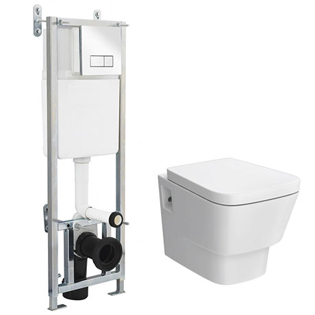 Premier Cambria Wall Hung Toilet with Dual Flush Concealed Cistern + Wall Hung Frame