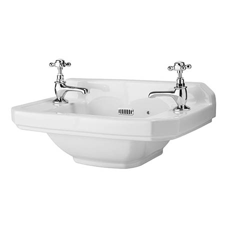 Carlton 515mm Traditional Cloakroom Basin (2 Tap Hole - Depth 300mm)