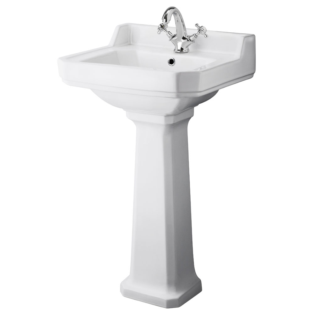Premier - Carlton 1 Tap Hole Traditional Basin with Pedestal - Various Size Options Large Image