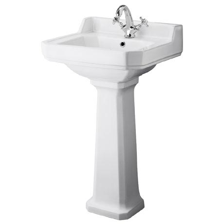 Premier - Carlton 1 Tap Hole Traditional Basin with Pedestal - Various Size Options