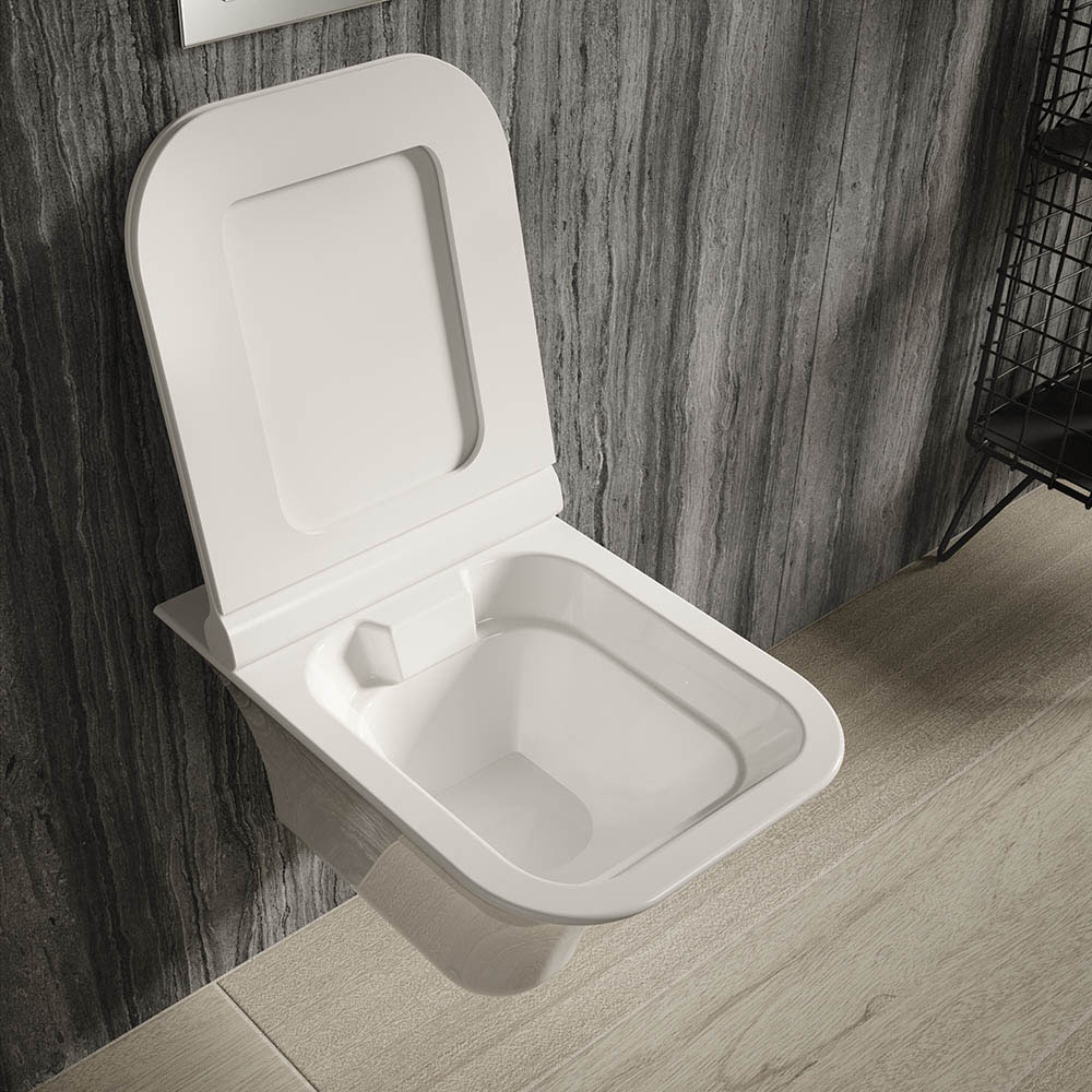 Hudson Reed Grace Rimless Wall Hung Pan & Soft Close Seat - NCT140 | Small Toilet Ideas