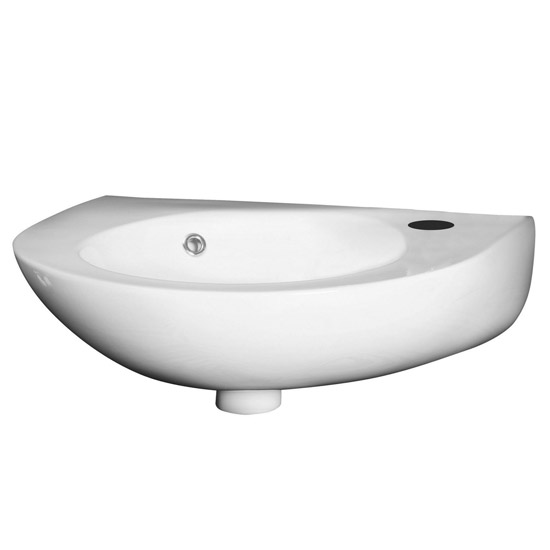 Premier - Round 350mm Wall Hung Cloakroom Basin - 1 Tap Hole - NCU932 Large Image