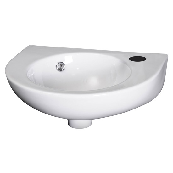 Premier - Round 450mm Wall Hung Cloakroom Basin - 1 Tap Hole - NCU942 Large Image