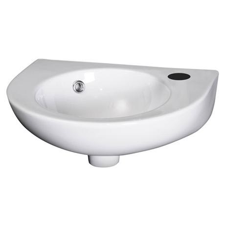 Premier - Round 450mm Wall Hung Cloakroom Basin - 1 Tap Hole - NCU942