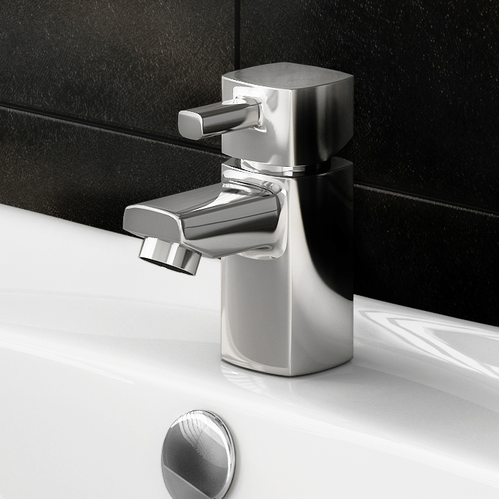 Neo Minimalist Cloakroom Mono Basin Mixer with Waste - Chrome Feature Large Image