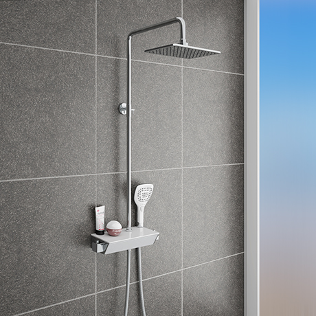 Neo Modern Thermostatic Shower with Shelf