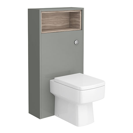 Haywood 600mm Gloss Grey / Driftwood Tall WC Unit with Open Shelf