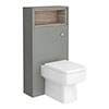 Haywood 600mm Gloss Grey / Driftwood Tall WC Unit with Open Shelf profile small image view 1