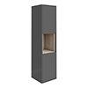 Haywood 1400mm Gloss Grey / Driftwood Wall Hung Tall Unit profile small image view 1