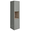 Haywood 1400mm Gloss Grey / Driftwood Wall Hung Tall Unit Small Image