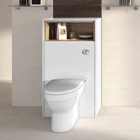 Haywood 600mm Gloss White / Natural Oak Tall WC Unit with Open Shelf