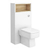 Haywood 600mm Gloss White / Natural Oak Tall WC Unit with Open Shelf profile small image view 1
