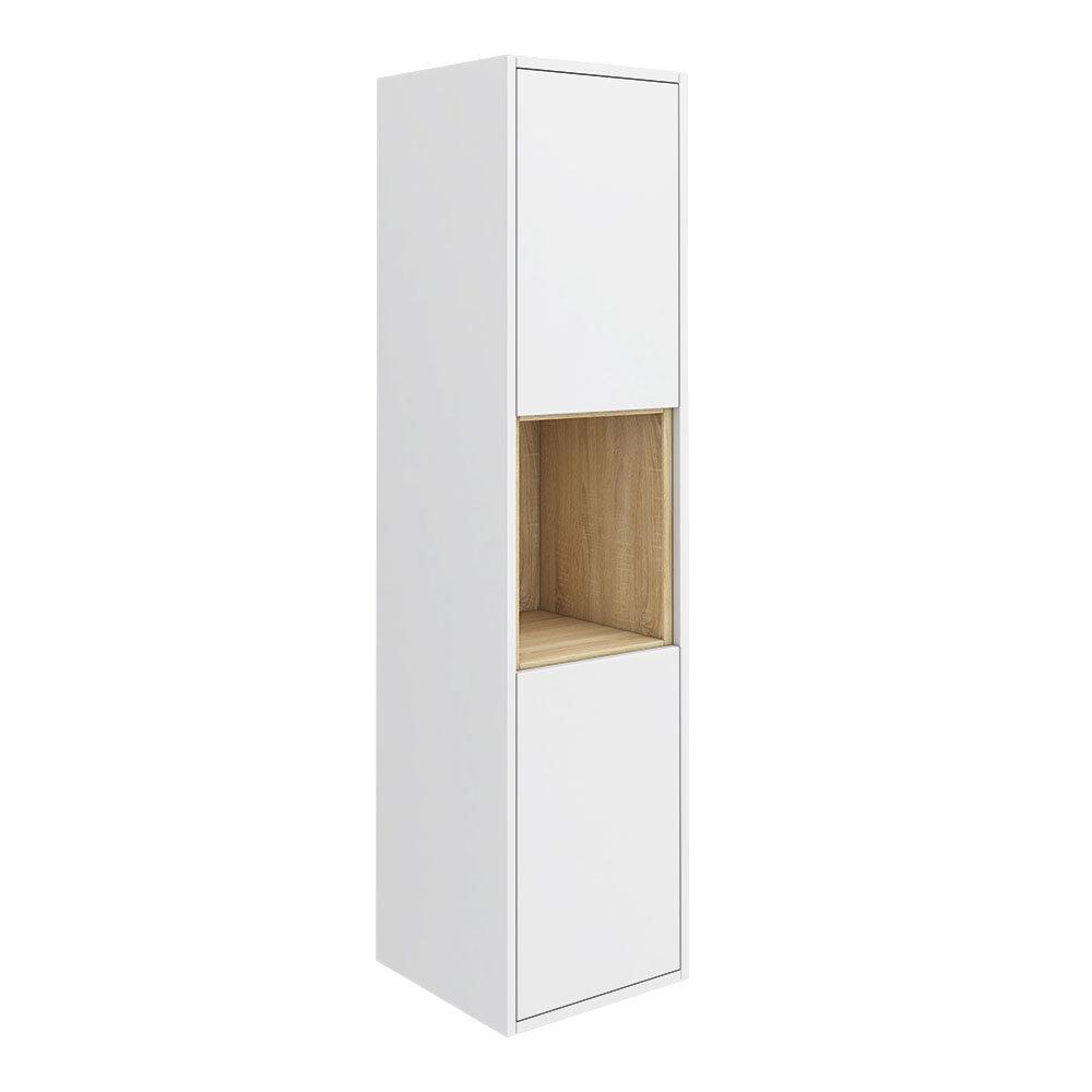 Haywood 1400mm Gloss White / Natural Oak Wall Hung Tall Unit
