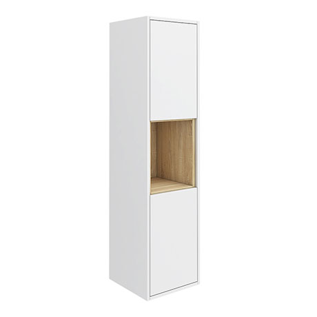 Haywood 1400mm Gloss White / Natural Oak Wall Hung Tall Unit