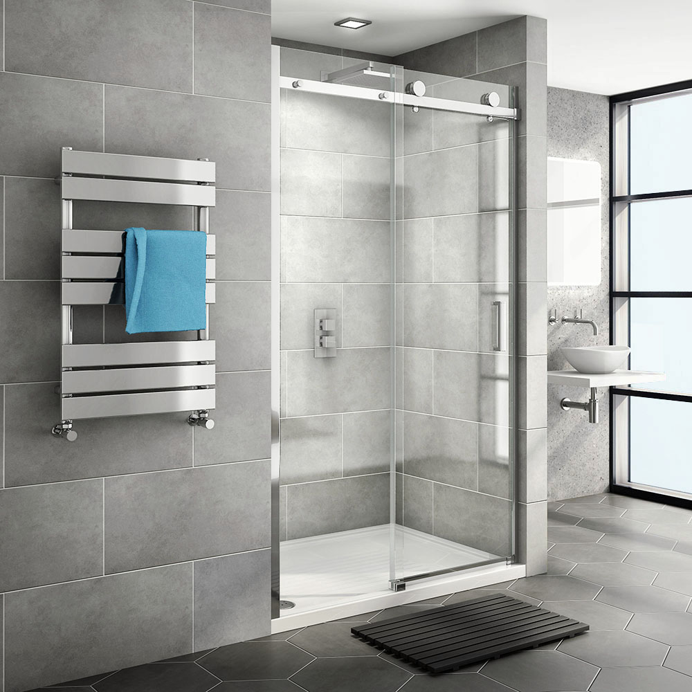 Nova Frameless Sliding Shower Door At Victorian Plumbing Uk