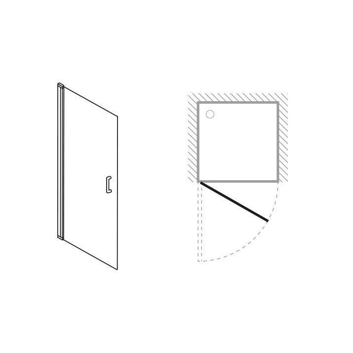 Simpsons - Click Hinged Shower Door - 2 Size Options profile large image view 2