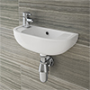 Nile Compact 455 x 205mmm Wall Hung Cloakroom Basin profile small image view 1