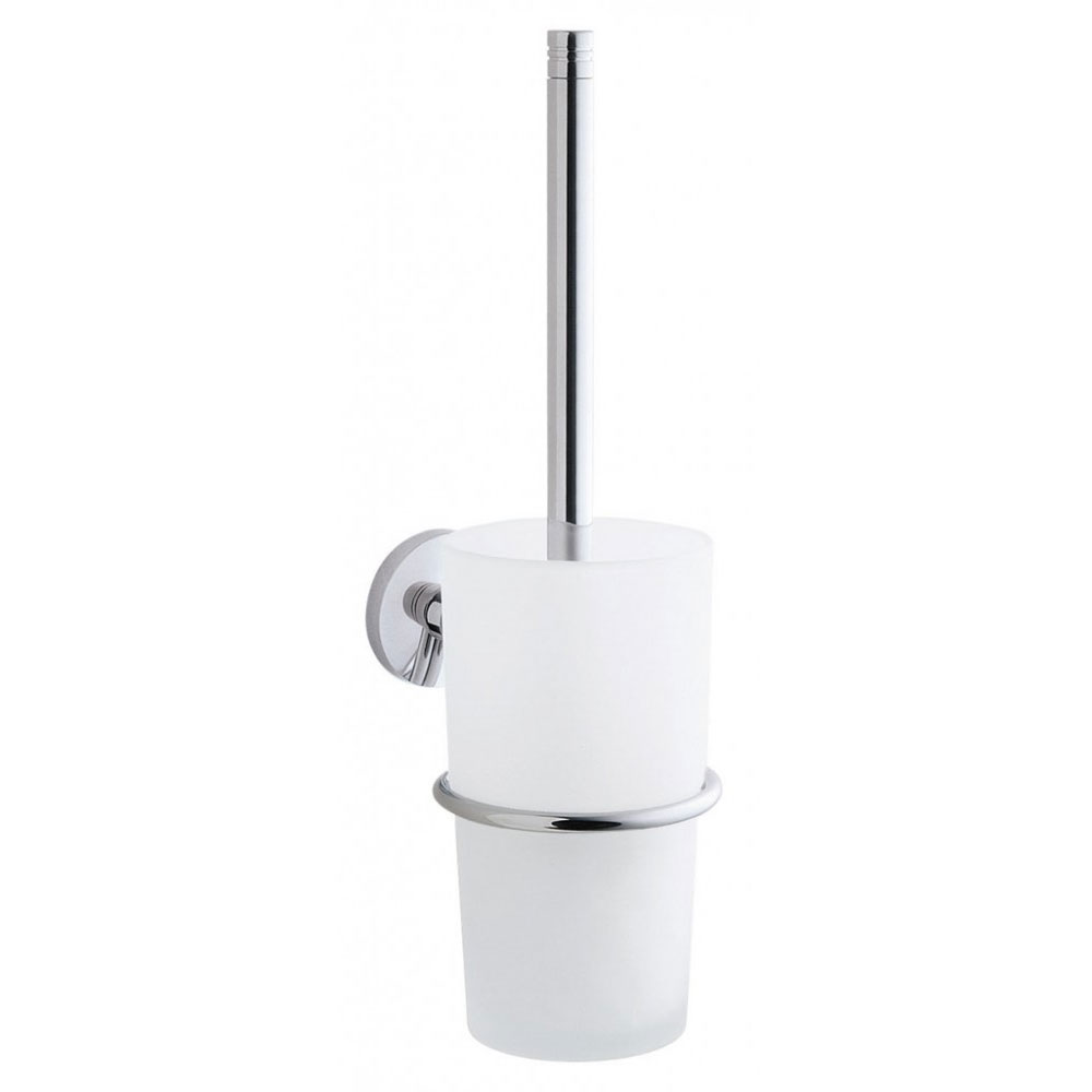 Smedbo Studio Wall Mounted Toilet Brush & Frosted Glass Container - Polished Chrome - NK333 Large Image