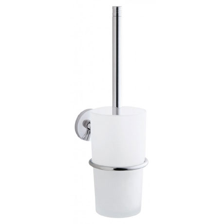 Smedbo Studio Wall Mounted Toilet Brush & Frosted Glass Container - Polished Chrome - NK333