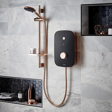 Bristan Noctis 10.5kw Electric Shower - Black & Rose Gold - NOC105-BG