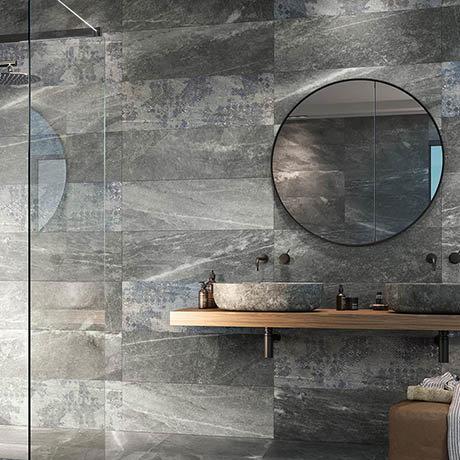 Novus Grey Stone Effect Wall and Floor Tiles - 300 x 900mm