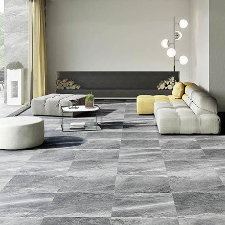 Novus Grey Stone Effect Wall and Floor Tiles - 600 x 600mm