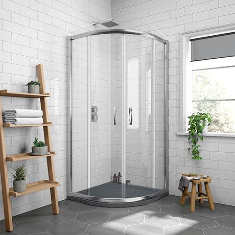 Newark 800 x 800mm Quadrant Shower Enclosure + Slate Effect Tray
