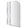 1400 Hinged Straight Curved Top Bath Screen + Fixed Panel NSS2 profile small image view 1