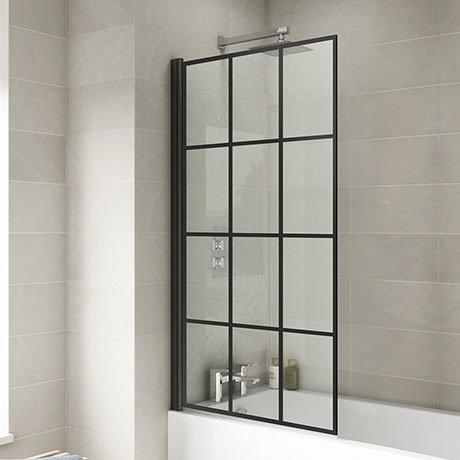 Hudson Reed Black Framed Square Bath Screen - NSSQBF