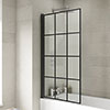 Hudson Reed Black Framed Hinged Square Bath Screen - NSSQBF profile small image view 1