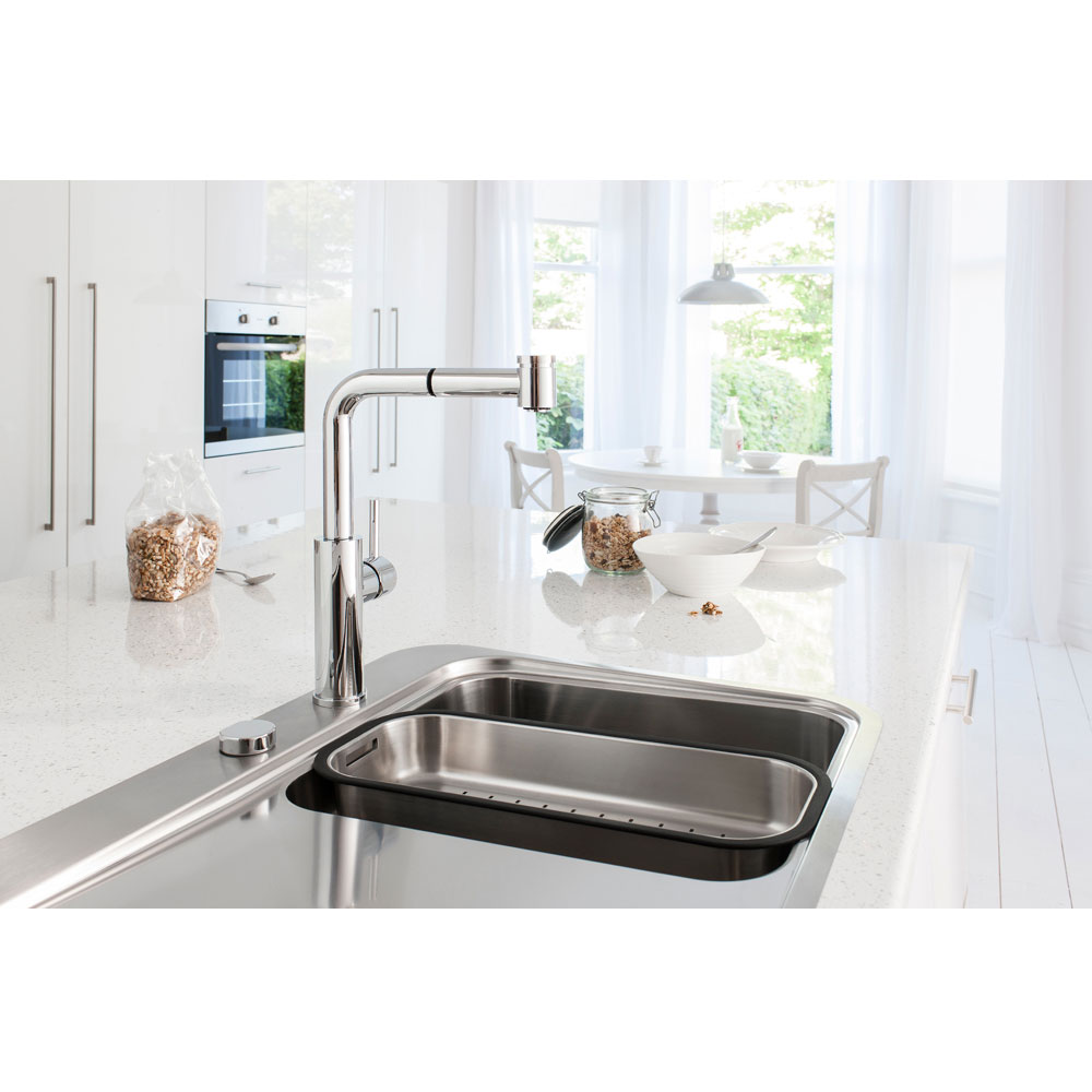 Crosswater - Cucina Ninety Side Lever Kitchen Mixer with Pull Out Spray - Chrome - NT719DC Profile Large Image