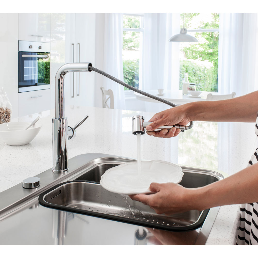 Crosswater - Cucina Ninety Side Lever Kitchen Mixer with Pull Out Spray - Chrome - NT719DC Feature Large Image