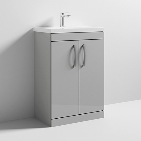 Nuie Athena 600mm Gloss Grey Mist Floor Standing Vanity Unit