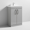 Nuie Athena 600mm Gloss Grey Mist Floor Standing Vanity Unit profile small image view 1