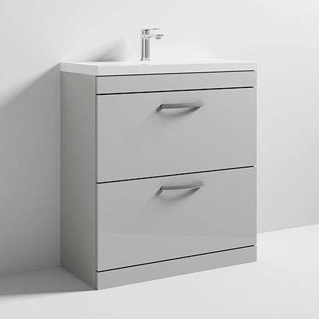 Nuie Athena 800mm Gloss Grey Mist Floor Standing 2 Drawer Vanity Unit