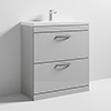 Nuie Athena 800mm Gloss Grey Mist Floor Standing 2 Drawer Vanity Unit profile small image view 1
