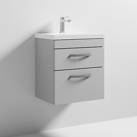 Nuie Athena 500mm Gloss Grey Mist 2 Drawer Wall Hung Vanity Unit