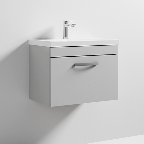 Nuie Athena 600mm Gloss Grey Mist 1 Drawer Wall Hung Vanity Unit