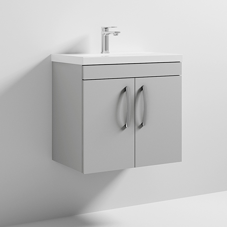Nuie Athena 600mm Gloss Grey Mist 2 Door Wall Hung Vanity Unit