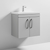 Nuie Athena 600mm Gloss Grey Mist 2 Door Wall Hung Vanity Unit profile small image view 1