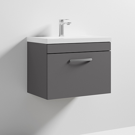 Nuie Athena 600mm Gloss Grey Wall Hung 1 Drawer Vanity Unit