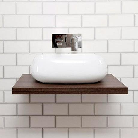 Nova 600 x 450mm Dark Wood Wall Hung Slimline Countertop Basin Shelf