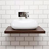 Nova 600 x 450mm Dark Wood Wall Hung Slimline Countertop Basin Shelf Small Image