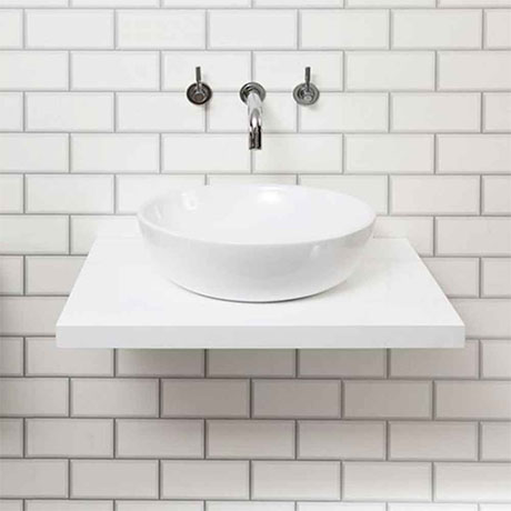 Nova 600 x 450mm White Wall Hung Slimline Countertop Basin Shelf