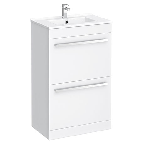 Nova 500mm Vanity Sink With Cabinet - Modern High Gloss White