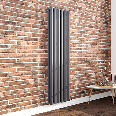 Milan 1800 x 452 Vertical Anthracite Double Panel Radiator