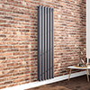 Milan 1800 x 452 Vertical Anthracite Double Panel Radiator profile small image view 1