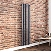 Milan 1800 x 452 Vertical Anthracite Single Panel Radiator profile small image view 1